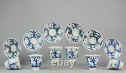 Antique 19th Set Japanese Porcelain Tea Bowl Blue & White Cup & Saucer Landscape
