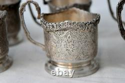 Antique 6 Hand Engraved Silver Tea Cup Holders Set