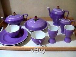 Antique Art Deco VICTORIA Czechoslovakia Porcelain Tea Chocolate set Egg Cups