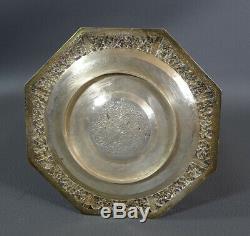 Antique Asian Porcelain Sterling Silver Holder Saucer Cup Demitasse Tea Set