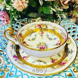 Antique Cauldon Bone China Tea Cup & Saucer Duo Set (Brown Westhead Moore)