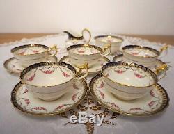 Antique Cauldon Porcelain Tea Set Cobalt Blue with Gold 6 x Tea Cups & More