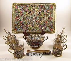 Antique Cloisonne Persian Enamel Silver Tea Set Gilt Cup Bowl Tray Spoon & tongs