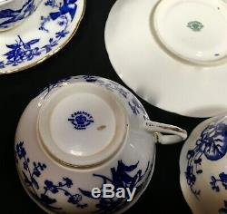 Antique Coalport China Tea Set For 6 People / Blue & White / Trio's Cup & Saucer