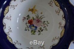 Antique Cobalt Blue & Gold Tea Cup and Saucer Set Hand Painted Floral Plates