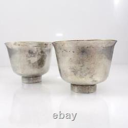 Antique Early Chinese or Japanese Sterling Silver Set of 2 Small Tea Cups LFJ5