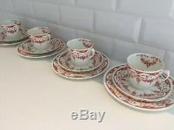 Antique Edwardian Bone China Tea Set Teacup Trios Ribbon Bow Iron Red Vintage