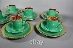 Antique French ART Deco Green Gold LIMOGES Porcelain Tea Cup Set with Plates 1930s
