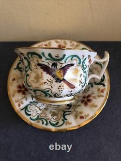 Antique French Set Of 2 porcelain cup and saucer Jacob Petit JP, Circa 1830