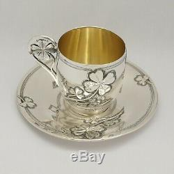 Antique French Sterling Silver Coffee Tea Cup & Saucer Set, Shamrock Clover