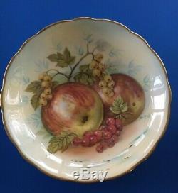 Antique Fruit & Gold Painted Tea Cup & Saucer set Signed D. Millington Hammersley