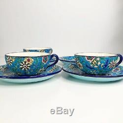 Antique LONGWY FRANCE Tea Cups & Saucers Plates Set Enameled Pottery