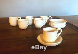 Antique Leedsware Creamware English Porcelain Teacup and Saucer set (12 pieces)