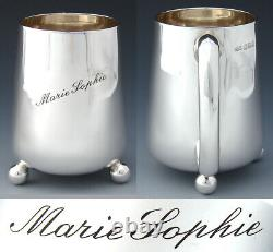 Antique Mappin & Webb Sterling Silver 3pc Coffee or Tea Set, Cup +, Leather Box
