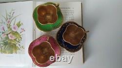 Antique Miniature Coalport Pink Tea Cup & Saucer Set. Gold Jewel, quatrefoil duo