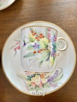 Antique Mint Royal Worcester HP Tea Cup Saucer Duo Set 2