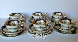 Antique Mintons Cobalt Blue Floral Tea Cups & Saucers Dessert Plates Trio Set