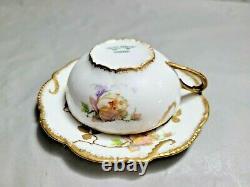 Antique Old Abbey Limoges Tea Cup Saucer Set Rare Find