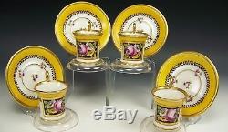 Antique Old Paris Napoleon Hand Painted Roses Tea Cups & Saucers Set Of 4