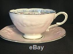 Antique Paragon FORTUNE TELLING Teacup and Saucer Set in PINK c. 1935