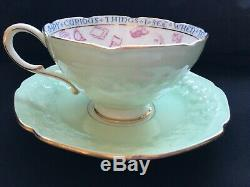 Antique Paragon Fortune Telling Teacup and Saucer Set in Green c. 1935