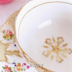 Antique Ridgway foliage shape teacup and saucer set, handpainted flowers