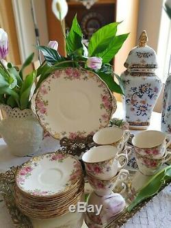 Antique Royal Doulton English Rose Trios Coffee Cup and Tea Plates 18 Pieces Set