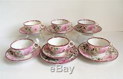 Antique STAFFORDSHIRE Pink Lustre CHILD TEA CUP SAUCER Miniature Pearlware SET
