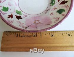 Antique STAFFORDSHIRE Pink Lustre CHILD TEA CUP SAUCER Miniature Pearlware SET