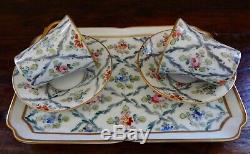 Antique Sevres Marked Hand Painted Tea Cups, Saucers & Tray Set