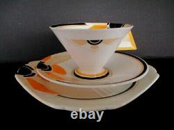 Art Deco / Vintage China Tea Set Trio. Shelley Vogue Sunray. British. 11742 VGC