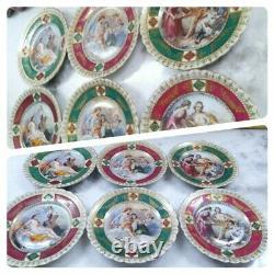 Austria Porcelain Portrait Demitasse Tea Set Cup Saucer Plates Jewelry Jar 23pcs