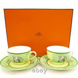Authentic HERMES Africa Green Tea Cup & Saucer 2set Tableware Porcelain #K410015
