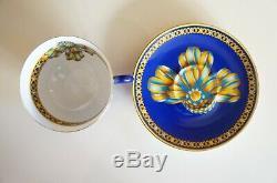 Authentic Hermes Porcelain Tea Cup & Saucer Set Cocarde de Soie
