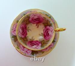 Aynsley Cabbage Rose Bone China Tea Cup & Saucer Set