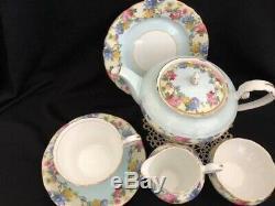 Aynsley Chintzy Tea For One Breakfast Set Teapot Teacup Trio Sugar Creamer Blue