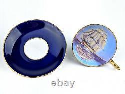 Aynsley Cobalt Blue Clipper Ship Boat Teacup & Saucer Set Ch5668