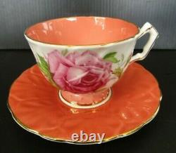 Aynsley Coral Cabbage Rose Teacup and Saucer Set Crocus Vintage RARE