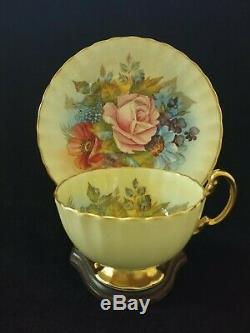 Aynsley Floral J A Bailey Signed Yellow Teacup Saucer Set 1028 England
