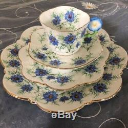 Aynsley Flower Handle Blue Flower Teacup Saucer Plate Cake Plate Quad Set