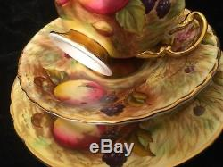 Aynsley Gold Fruit Painted Orchard Tea Cup and Saucer Set Signed N Brunt