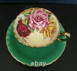 Aynsley Green Triple Cabbage Rose Teacup and Saucer Set Vintage Roses England