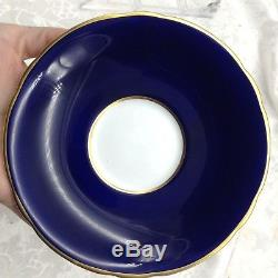 Aynsley Hand Painted Ship Clipper Cobalt Blue Gold Cup Saucer Teacup Set