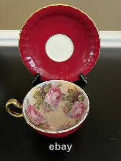 Aynsley Lg Pink Cabbage Rose Flowers Full Design Red Tea Cup & Saucer Set Cs82