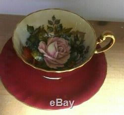 Aynsley Maroon Floral J A Bailey Signed Teacup Saucer Set C1033 England Rare HTF