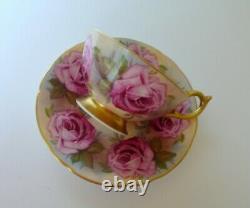 Aynsley Pink Cabbage Rose Bone China Tea Cup & Saucer Set
