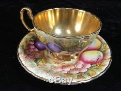Aynsley Rich Gold'ORCHARD FRUIT' Signed D. Jones Tea Cup & Saucer Set