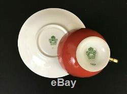 Aynsley Signed J. A Bailey 1033 Cabbage Rose Poppy Flowers Rust Teacup Saucer Set