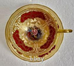 Aynsley Signed J. A. Bailey Gold Lace Cabbage Rose Teacup & Saucer Set England