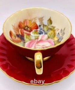 Aynsley Signed J. A. Bailey Red Cabbage Rose Cup and Saucer Set Teacup England